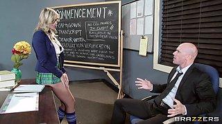 Dorky & Slutty Schoolgirl Sucks Her Teacher