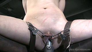 Crazy slut Endza Adair is restrained and punished hard