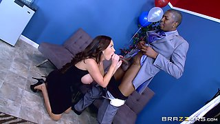 nikki benz whips out her juggs and starts blowing his black rod