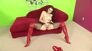 Rather flexible whore in red stuff Nikki Nievez gets brutally analfucked