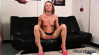 Frisky looker gets sperm load on her face swallowing all the