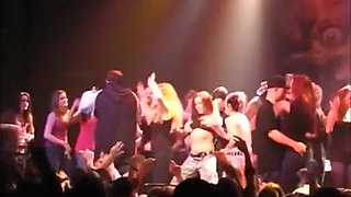 Foxy chicks enjoy flashing the rock concert audiences with tits and get groped by strangers