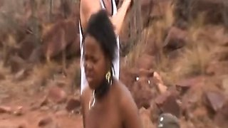 African girl is tied and forced to fuck horny and violent men