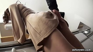 sachi suzuki gives a blowjob in the kitchen until she gets a mouthful