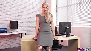 Lewd secretary in body fishnets Jasmine Lau gets naked in the office