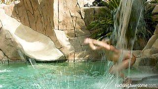neighbor's pool allures sexy mermaid