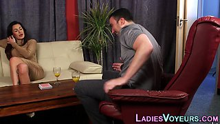Hot domme watches tugging