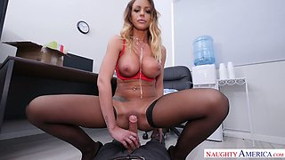 Fired secretary Brooklyn Chase gives goodbye blowjob to her kinky boss