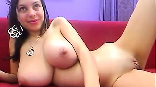 Cam girl teases with her monster titties