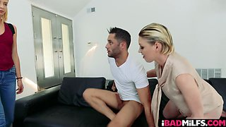 Lucky guy gets his huge pecker blown and rode by two smoking hot blonde babes