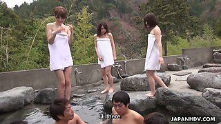 Four Asian dudes fuck sex-appeal Japanese whores in the pool