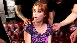 Horny redhead Penny Pax tied up and gangbanged hardcore