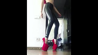 latex and red killer heels