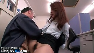 Japanese secretary squirts with old boss