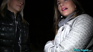 Simonne in Sisters fuck two big cocks for Xmas - PublicAgent
