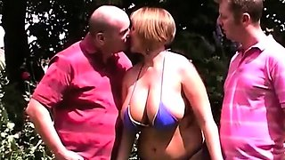 32HH housewife Curvy Claire fucks two horny guys