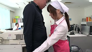 Cute looking office maid Chihiro Akino gets her wet pussy creampied at work