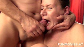 Mature slut Gusti Tschopp wakes up man by giving him a terrific blowjob