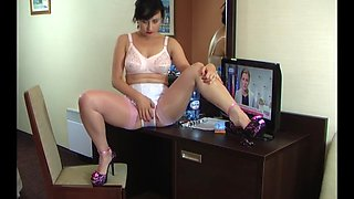 Beautiful polish milf in pink stockings solo