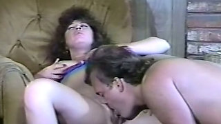 Insatiable brunette milf woman on the armchair licked and fucked