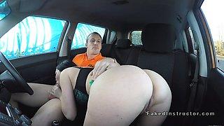 Dude bangs huge tits Milf examiner in car