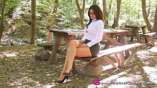 Horny Secretary Gets Naked In The Forest