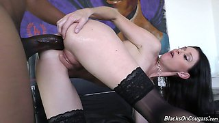 Massive aggressive black dick penetrates all holes of slender milf India Summer