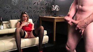 Busty british voyeur humiliates tugging guy
