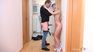 Slim blonde with small tits Kira Thorn gets her pussy nailed in the bathroom
