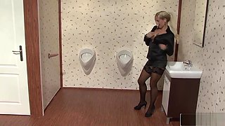 Blonde In The Bathroom Gets Fucked