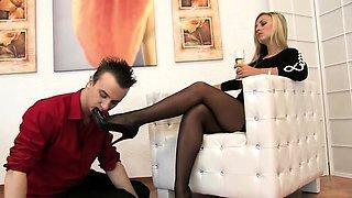 Nylon office secretary pantyhose foot fetish