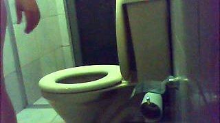 Chubby milf wife on hidden cam in the bathroom taking dump