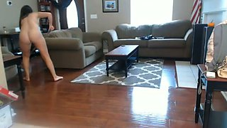 Stunning maid cleaning my house all naked