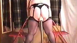 Mature inserting huge dildo