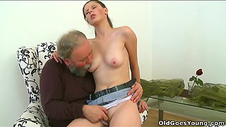 Skanky Euro babe with saggy tits is getting her snatch polished by old fart