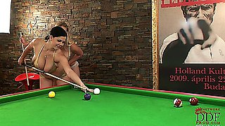 Shione Cooper and Sapphire after a billiard game lovely erotic lesbian sex.