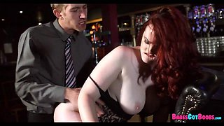 Thick Redhead Fucks Her manager at the bar
