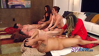 Horny lady guides these swingers into sex as they swap couples