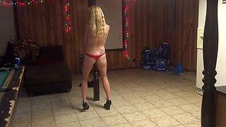 Drunk babe striptease