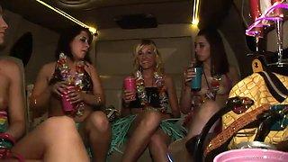 drunk babes take off their bikinis inside a limo