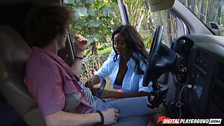 Ebony goddess with massive tits Diamond goes on a cockriding adventure