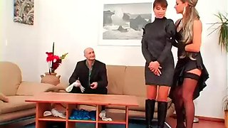 Sultry mistress dominates dude