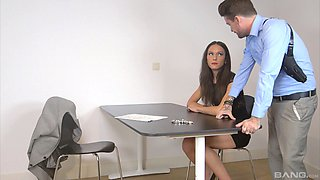 Slutty suspect bent over and fucked by a horny detective