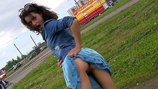 Hot skinny teen in denim jacket and sexy blue skirt