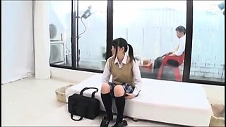 Enticing Japanese schoolgirl enjoying her first black cock