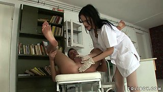 Big stud fucks slutty brunette in a sexy doctor outfit