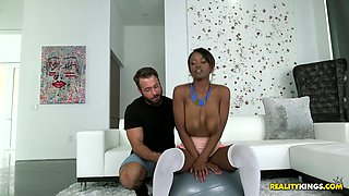 Slut with a big saggy tits Jezabel Vessir is fully satisfied by hot tempered white dude