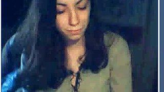 Drunk brunette web cam slut shows off her massive tits