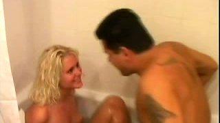 Sweet and cute blondie in the bathtub feeling horny for her boyfriend