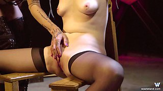 Blonde sweetie gets her pussy pleased by a kinky mistress